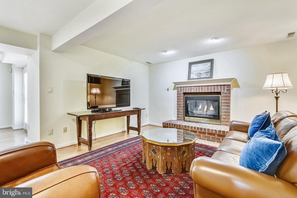 Lower level recreation room has a gas fireplace - 20405 EPWORTH CT, GAITHERSBURG
