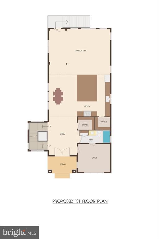 Main Level Floor Plan  (w/ Bedroom & Full Bath!) - 427 N CLEVELAND ST, ARLINGTON