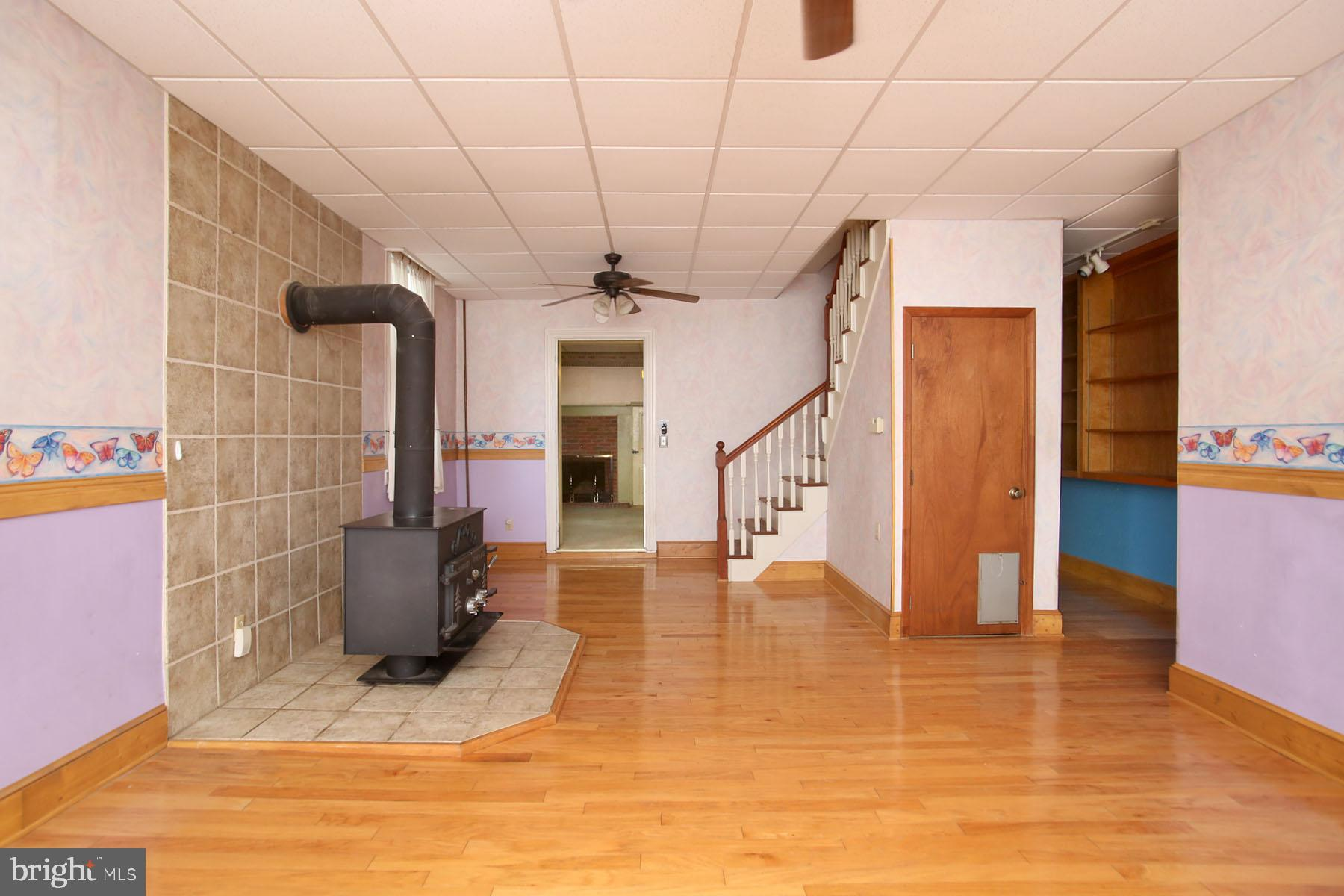 Large Family Room with Schrader Woodstove