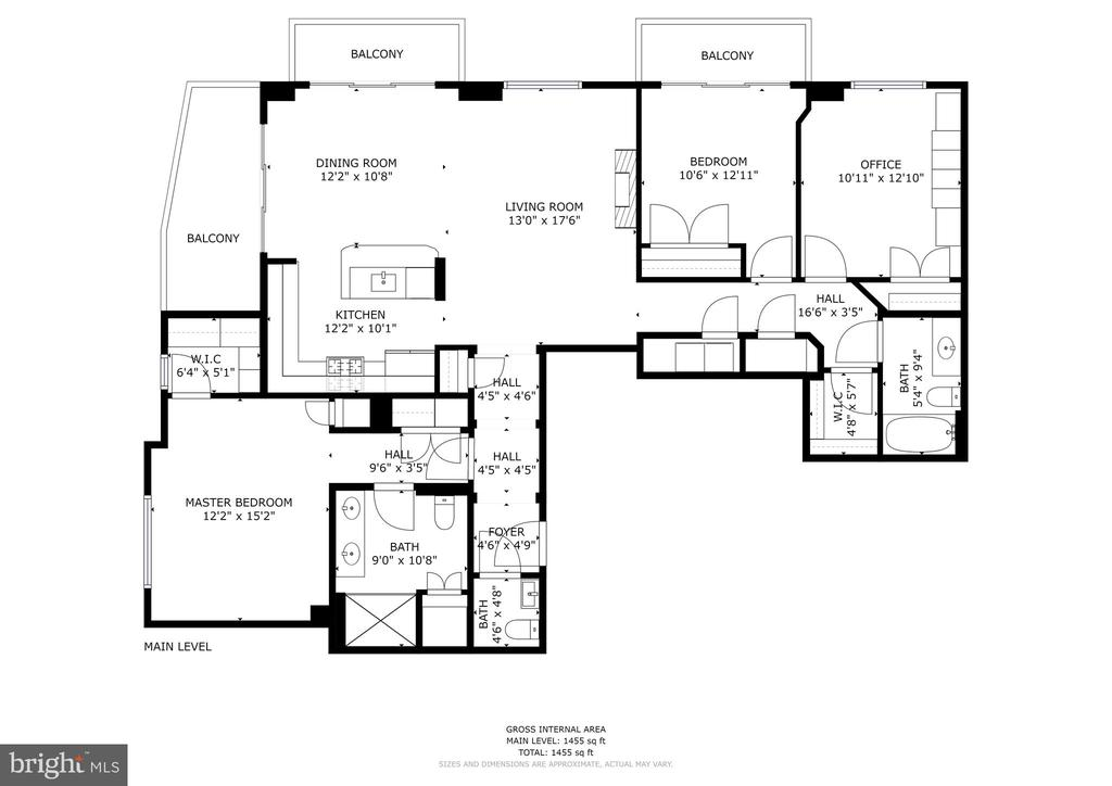 Actual square footage per assessor is 1557 sq ft - 1000 N RANDOLPH ST #809, ARLINGTON