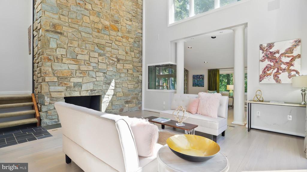 Living room with fish tank and fireplace - 10717 MEADOWOOD DR, VIENNA