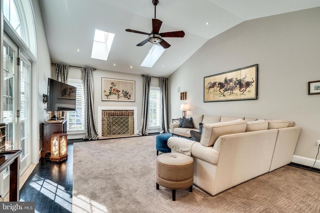 High ceilings and skylights in family room - 3812 WASHINGTON WOODS DR, ALEXANDRIA