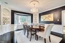 Timeless navy blue dining room - 3812 WASHINGTON WOODS DR, ALEXANDRIA