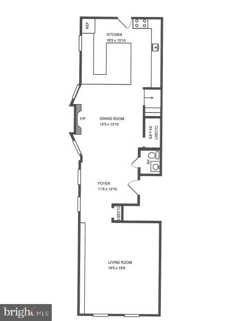 Main Level Floor Plan - 3518 10TH ST NW #B, WASHINGTON