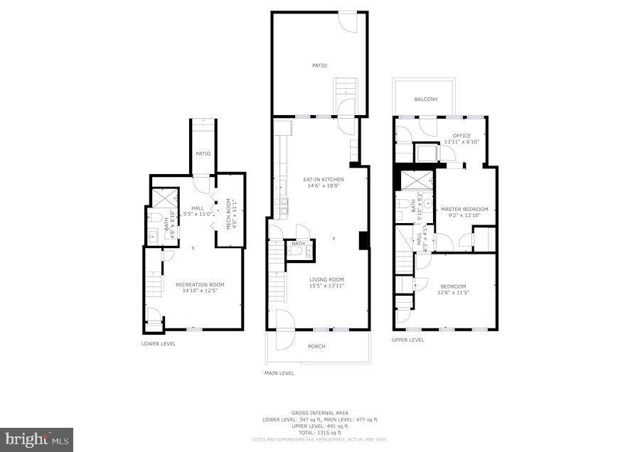 Floor plan of each of the three levels - 332 CHANNING ST NE, WASHINGTON