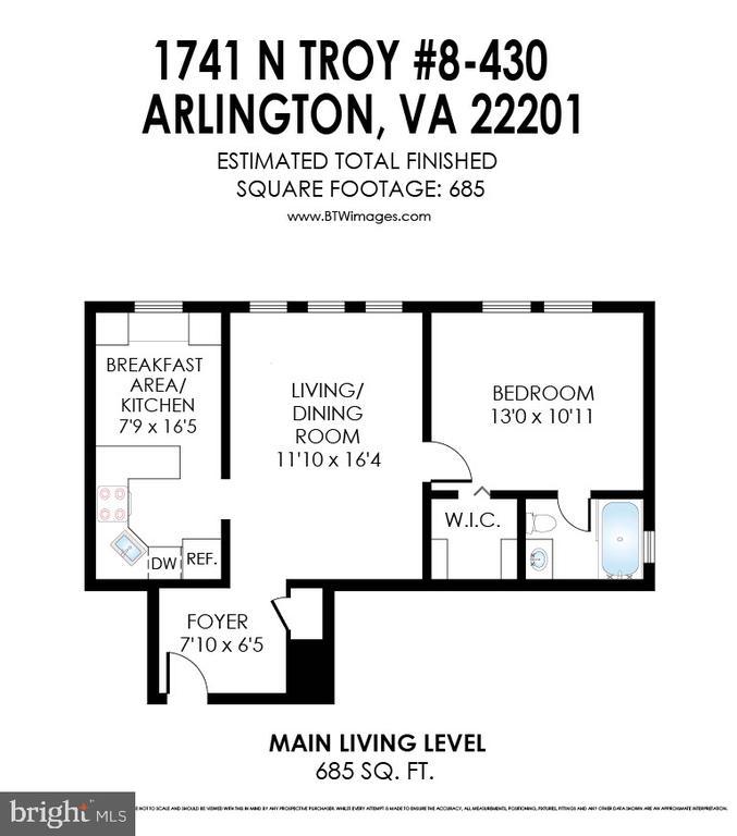 Unit Floor Plan - 1741 N TROY ST #8-430, ARLINGTON