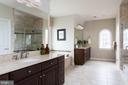 Generously sized master bath with dual vanities - 25748 RACING SUN DR, ALDIE