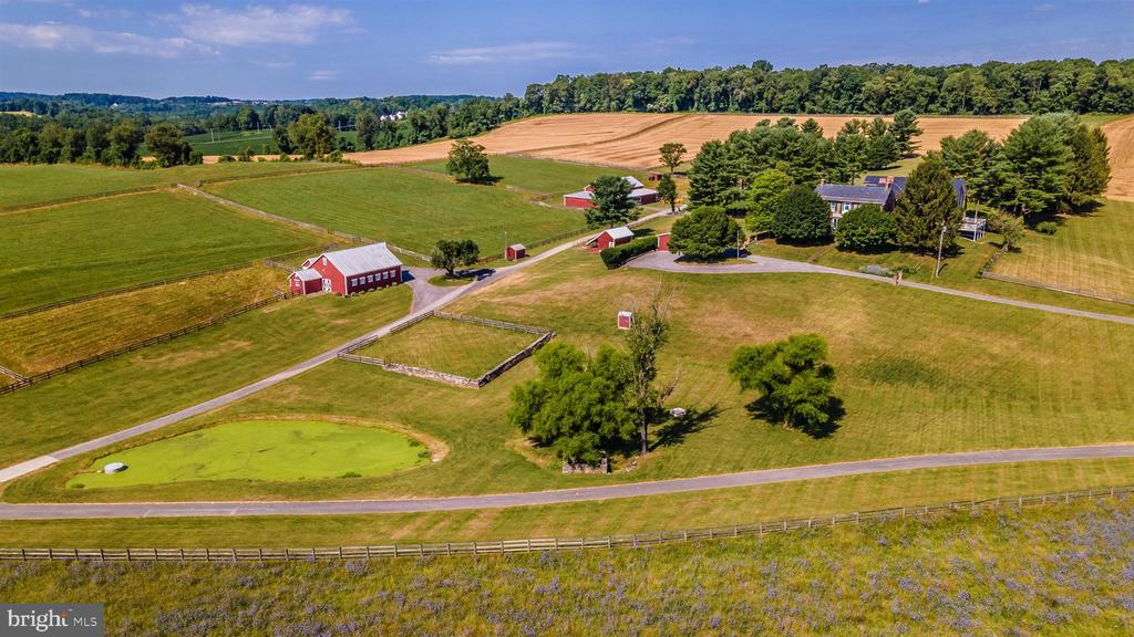 Aerial view from the front pasture&13 wooded acres - 7030 DRUMMINE RD, MOUNT AIRY