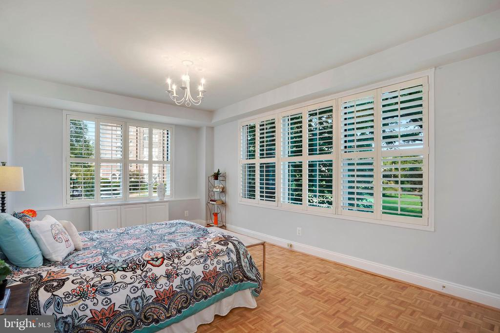 Corner bedroom #1 with plantation shutters - 3900 WATSON PL NW #A-2FG, WASHINGTON