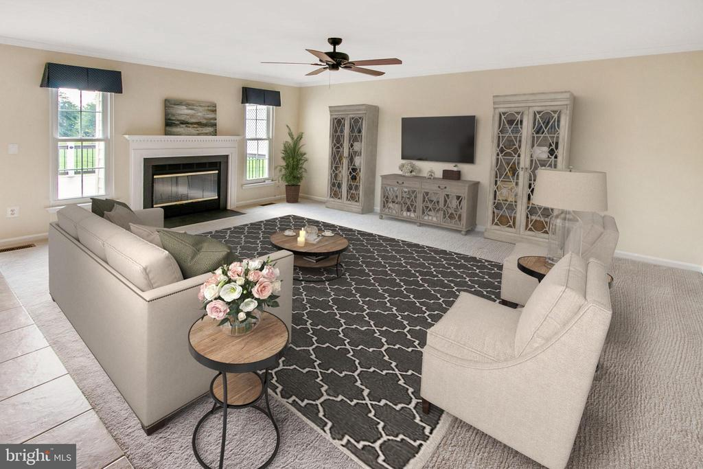 Spacious family room with wood-burning fireplace - 18728 POTOMAC STATION DR, LEESBURG