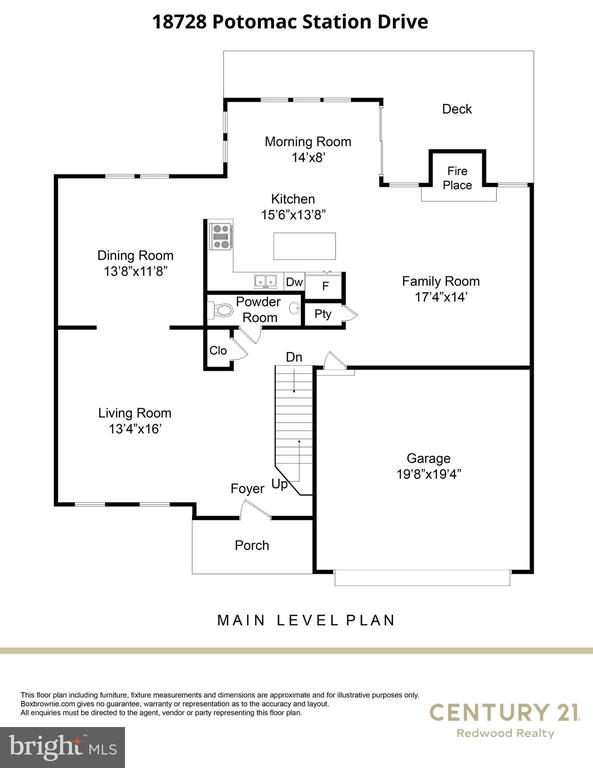 Main Level Floorplan - 18728 POTOMAC STATION DR, LEESBURG