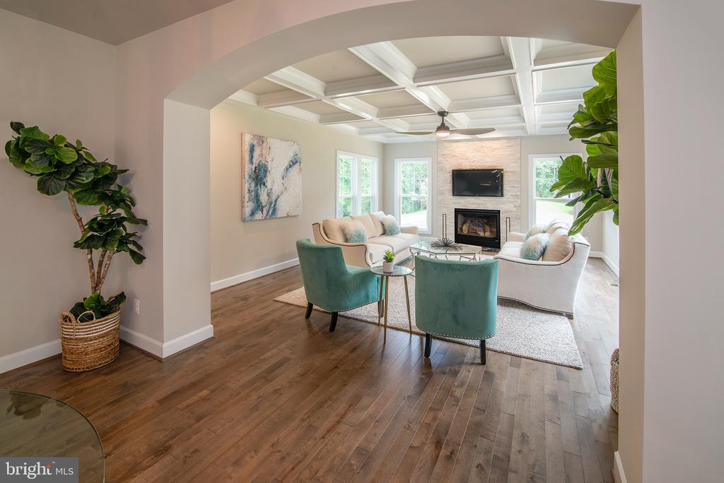 Deep coffered ceiling in Family Room- Arched entry - 9524 LEEMAY ST, VIENNA