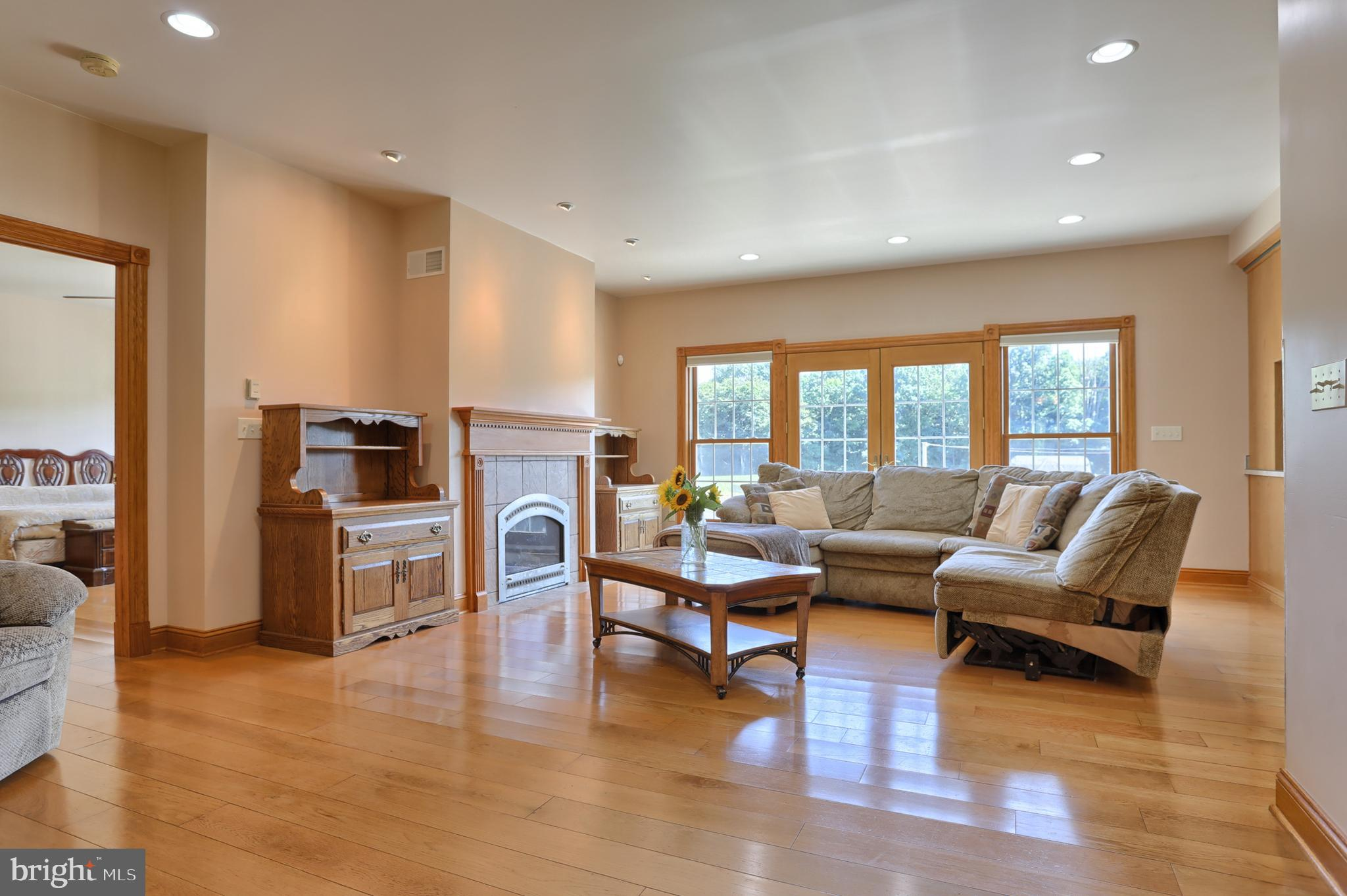 French doors and FP in family room