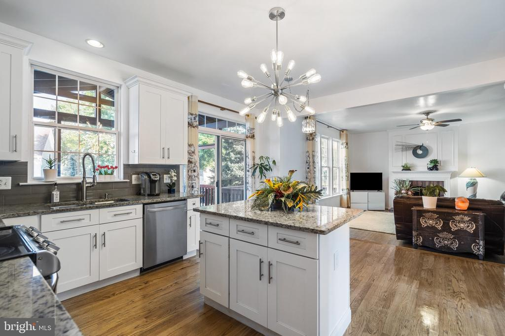 Beautiful and bright light in kitchen above island - 20887 CHIPPOAKS FOREST CIR, STERLING