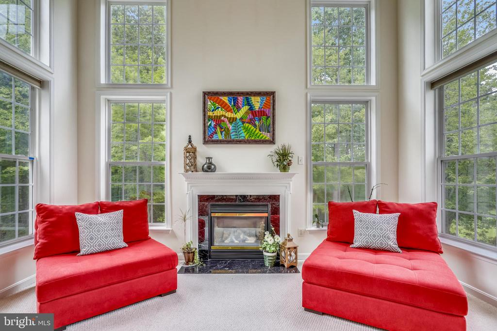 Family Room surrounded by floor to ceiling windows - 7132 AYERS MEADOW LN, SPRINGFIELD