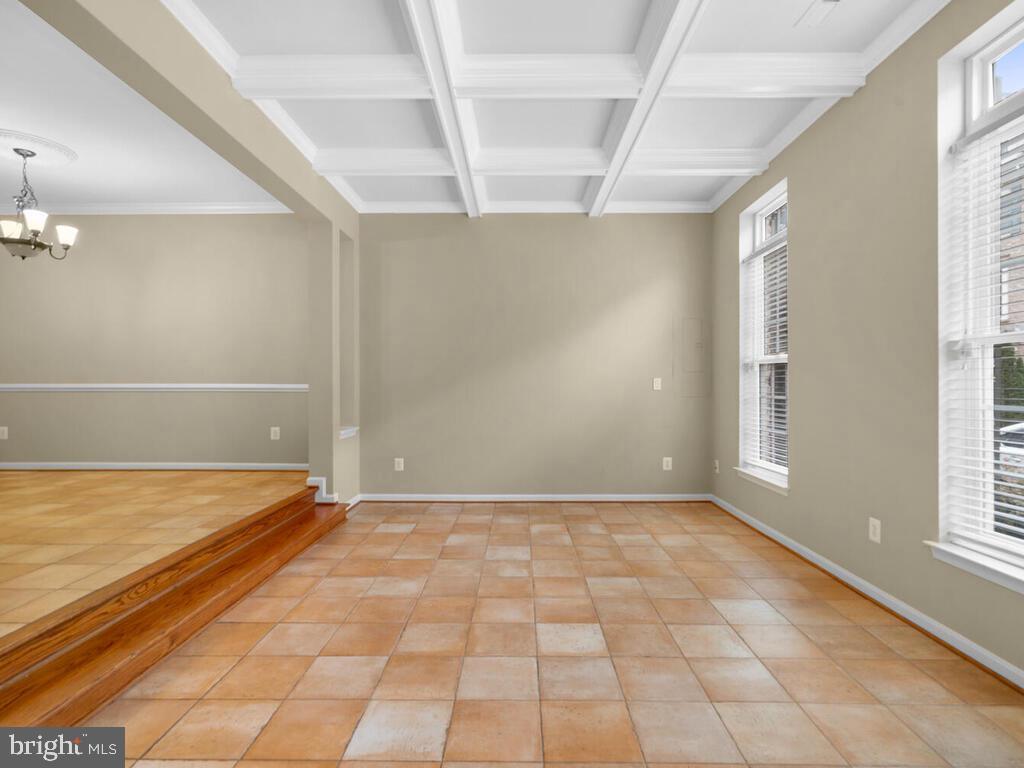 Living room with Coffered Ceiling - 22950 FANSHAW SQ, BRAMBLETON