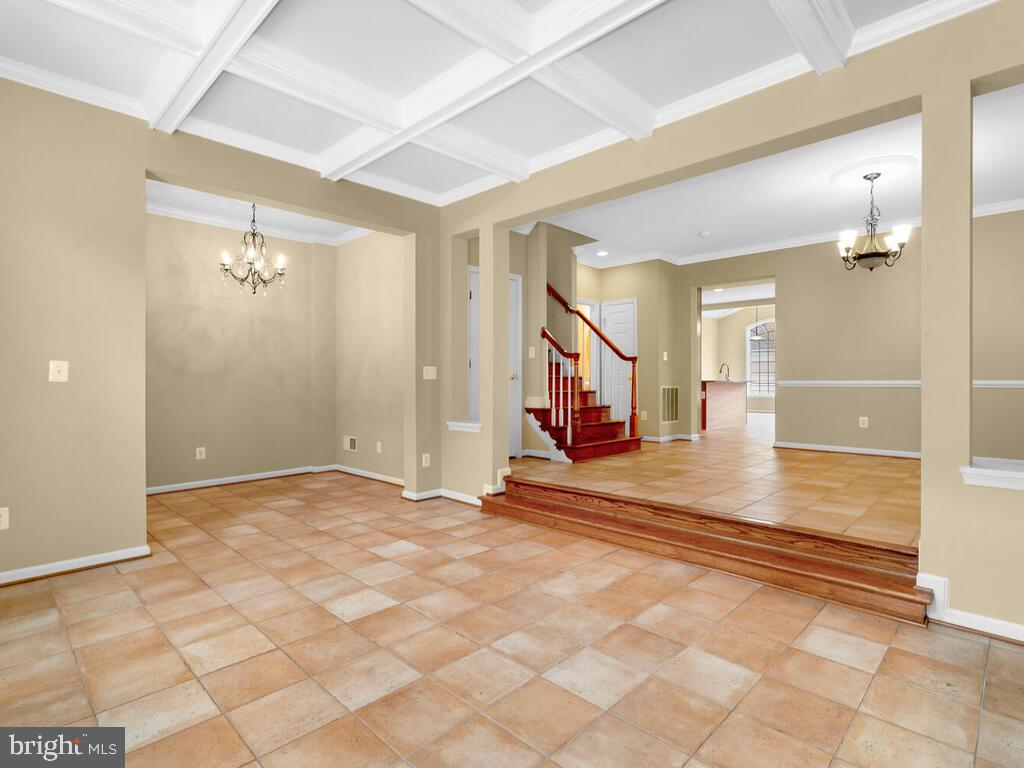 Entryway and Living room with Coffered Ceiling - 22950 FANSHAW SQ, BRAMBLETON