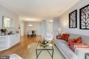 Hardwood floors in the living area - 1600 N OAK ST #308, ARLINGTON