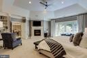 Tray ceiling, gas fireplace, and built in shelving - 2124 POLO POINTE DR, VIENNA
