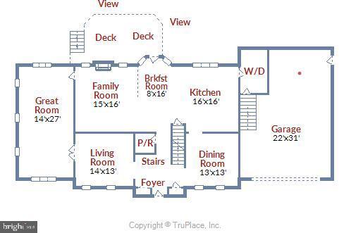 Main level floor plan - 15901 EDGEWOOD DR, DUMFRIES