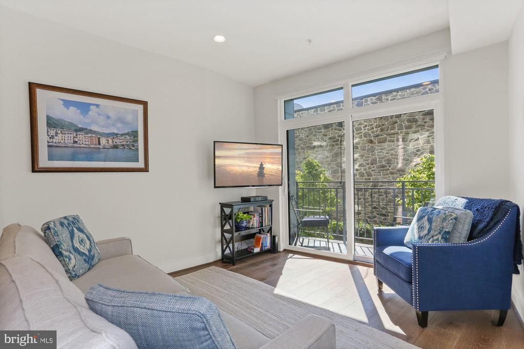 Living Room Boasts Wall of Sliding Glass Doors! - 2337 CHAMPLAIN ST NW #104, WASHINGTON
