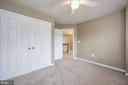 Bedroom 1 large double closet & ceiling fan - 5 JAMESTOWN CT, STAFFORD