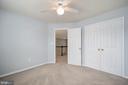 Bedroom 2 large double closet & ceiling fan - 5 JAMESTOWN CT, STAFFORD