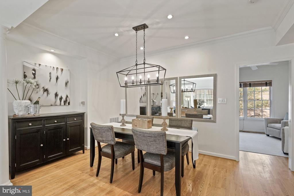 Large dining room with a brand new chandelier - 1174 N VERNON ST, ARLINGTON
