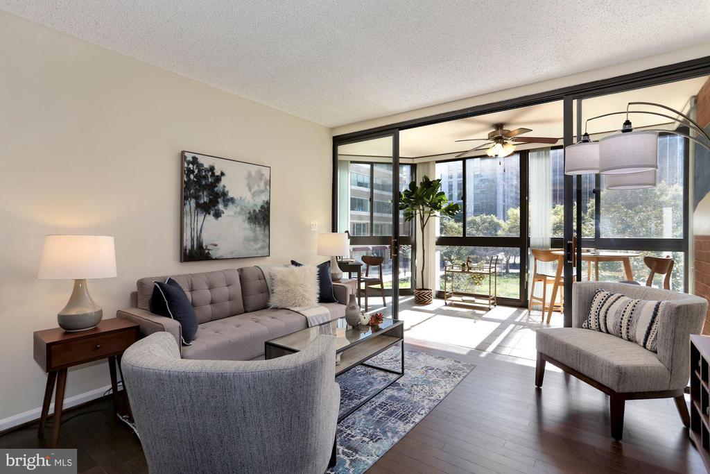 Living Room Boasts Brand New Hardwood Floors! - 1001 N RANDOLPH ST #214, ARLINGTON