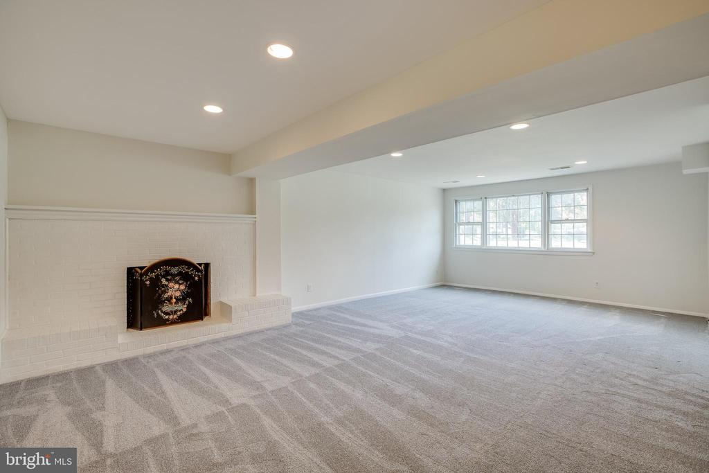 Recreation Room with wood burning fireplace - 12813 LAYHILL RD, SILVER SPRING