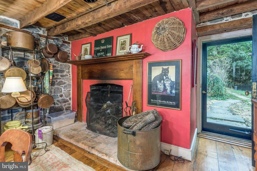 Kitchen with Wood burning fireplace - 19010 GUINEA BRIDGE RD, PURCELLVILLE
