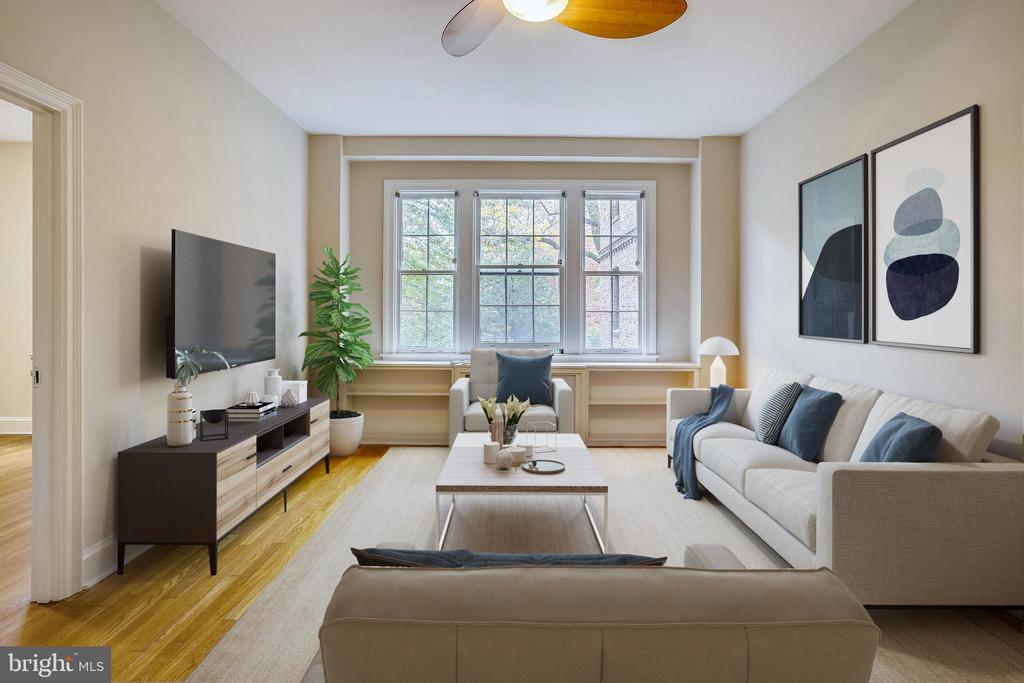 Living Room - Virtually Staged - 3900 CONNECTICUT AVE NW #105-F, WASHINGTON