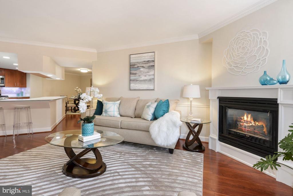 Living Room has gas fireplace and wood floors - 1276 N WAYNE ST #807, ARLINGTON