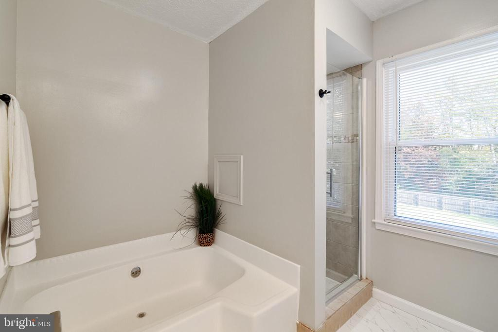 Master Bath w/ large soaking tub & tiled in shower - 89 CLEREMONT DR, FREDERICKSBURG