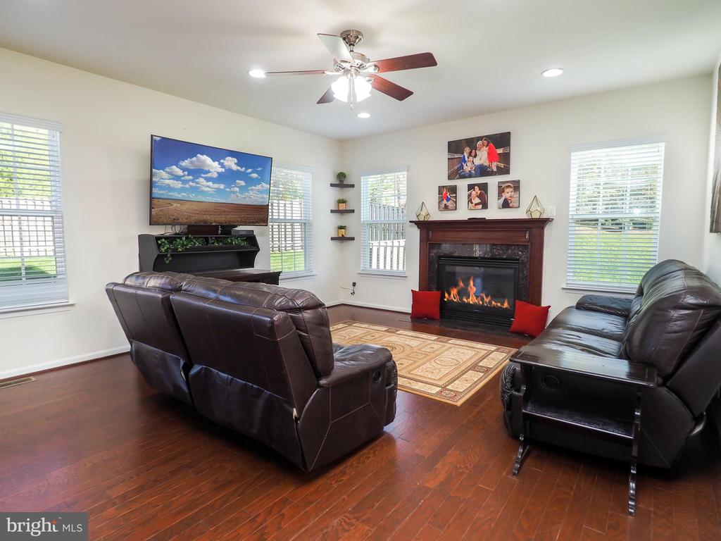 Family room with gas fireplace - 14973 SPRIGGS TREE LN, WOODBRIDGE