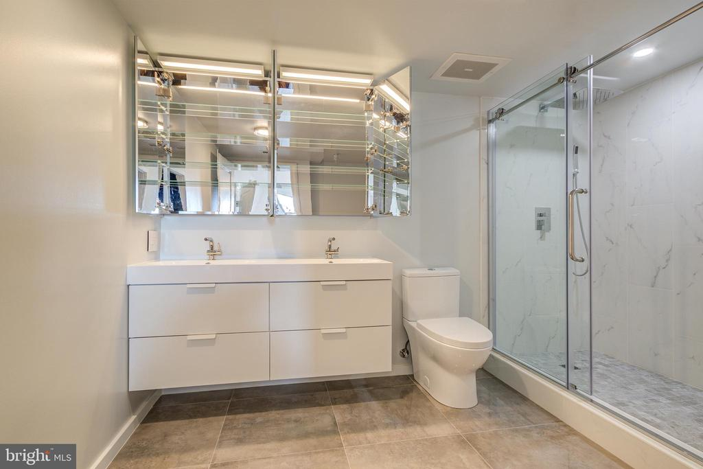 Master Bath w/ mirror glass double cabinets - 1021 N GARFIELD ST #828, ARLINGTON
