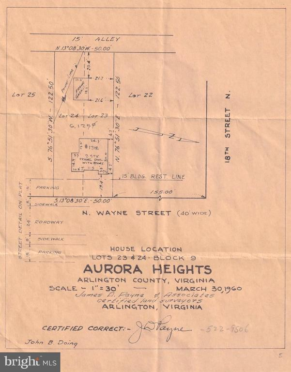 Survey Plot circa 1960 - 1718 N WAYNE ST, ARLINGTON