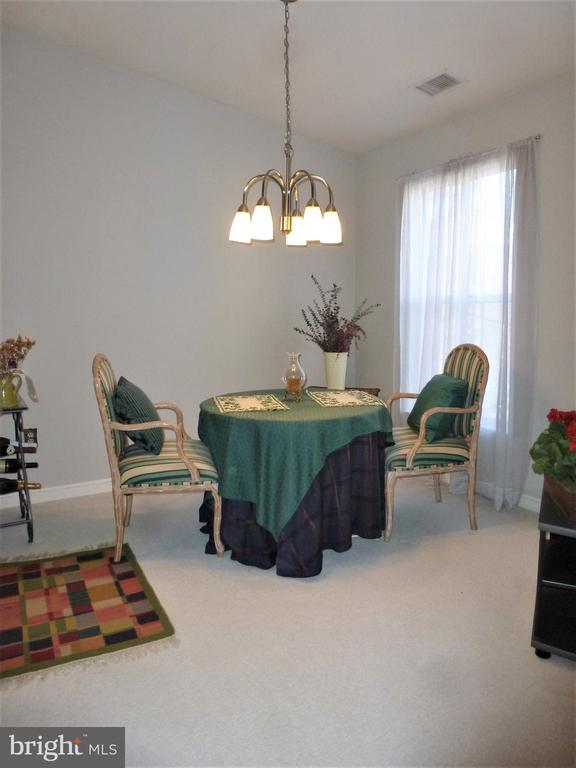 Vaulted ceiling in dining room & new chandelier - 20577 SNOWSHOE SQ #301, ASHBURN