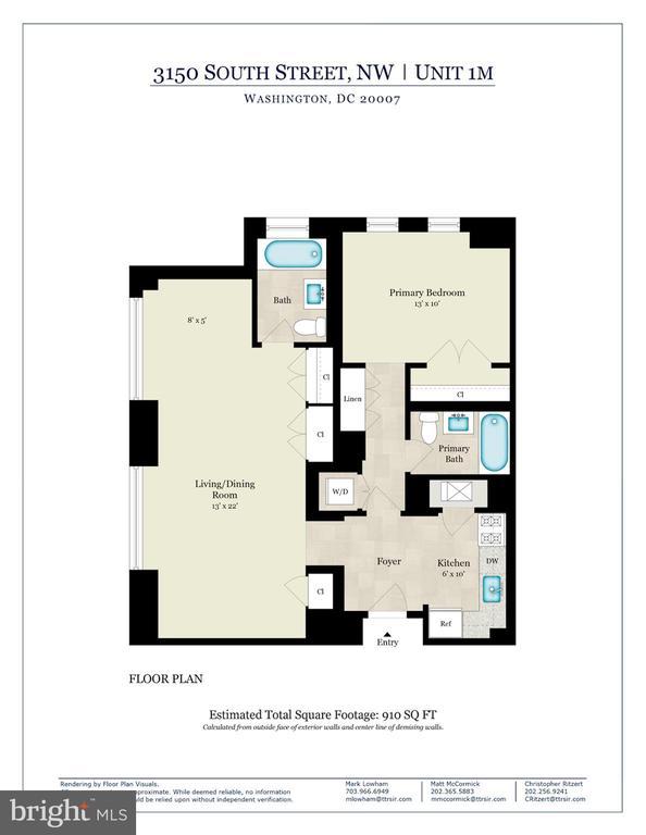 1M Floor Plan - 3150 SOUTH ST NW #PH2C & 1M, WASHINGTON