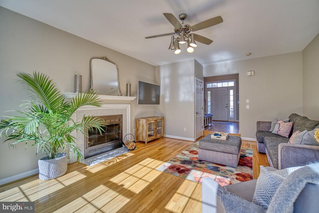 Family Room has Wood Burning Fireplace - 21033 FOWLERS MILL CIR, ASHBURN