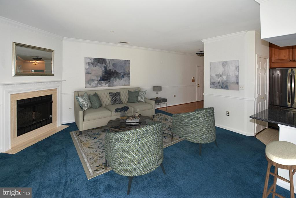 Living Room with corner gas Fireplace - 2101 HIGHCOURT LN #301, HERNDON