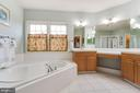 Master bathroom with dual vanities and soaking tub - 20277 DAWSON MILL PL, LEESBURG