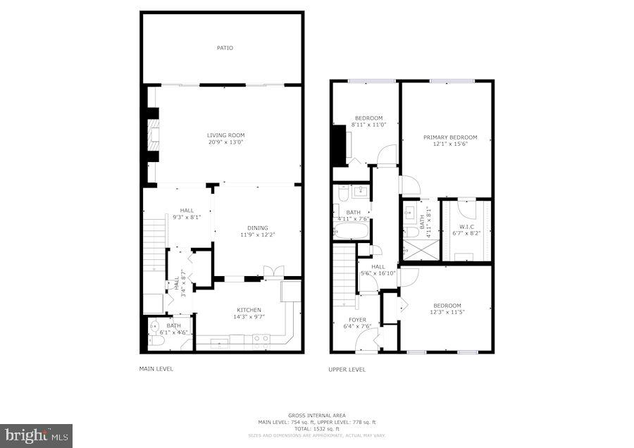 Combined Floor Plans for Main & Upper Levels - 1610 BELMONT ST NW #D, WASHINGTON