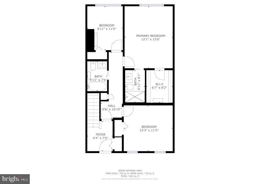 Floor Plan of Upper Level - 1610 BELMONT ST NW #D, WASHINGTON