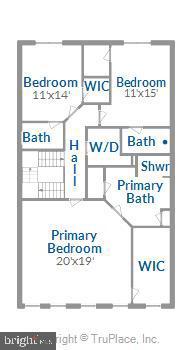 Upper level floorplan - 43111 CLARENDON SQ, ASHBURN
