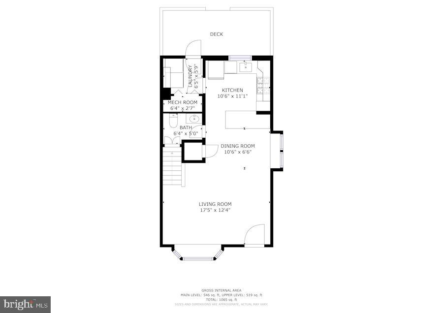 Floor Plan of Main Level - 3833 JAY AVE, ALEXANDRIA