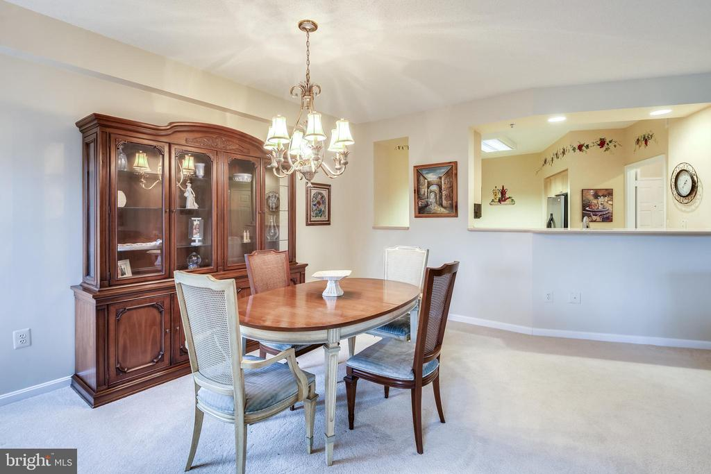 Kitchen opens to Dining area - 3100 N LEISURE WORLD BLVD #203, SILVER SPRING