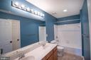 Large bdrm level full bath with double vanity! - 1110 HEARTHSTONE DR, FREDERICKSBURG