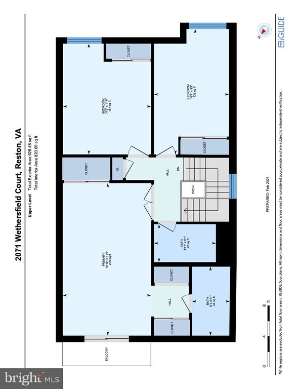 Floorplan Upper Level - 2071 WETHERSFIELD CT, RESTON