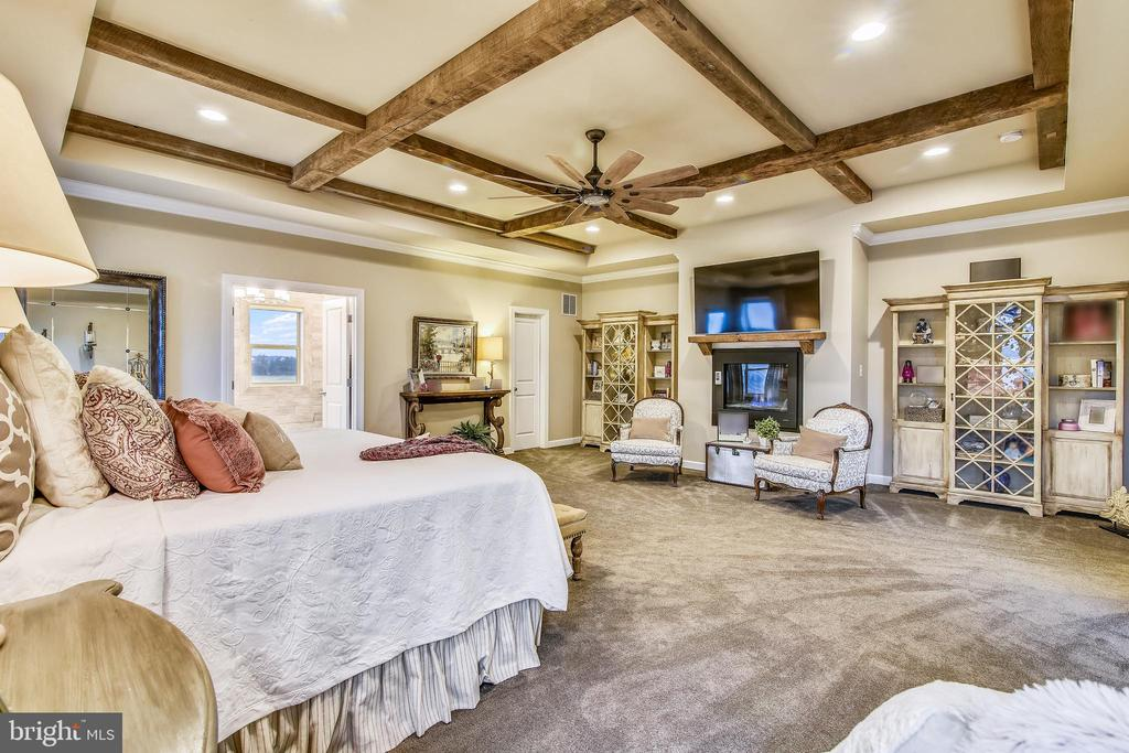COFFERRED TRAY CEILING- RECYCLED BARN BEAMS - 20800 EXCHANGE ST, ASHBURN